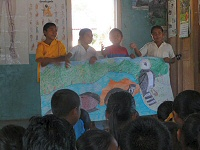 rewa children with wildlife drawing